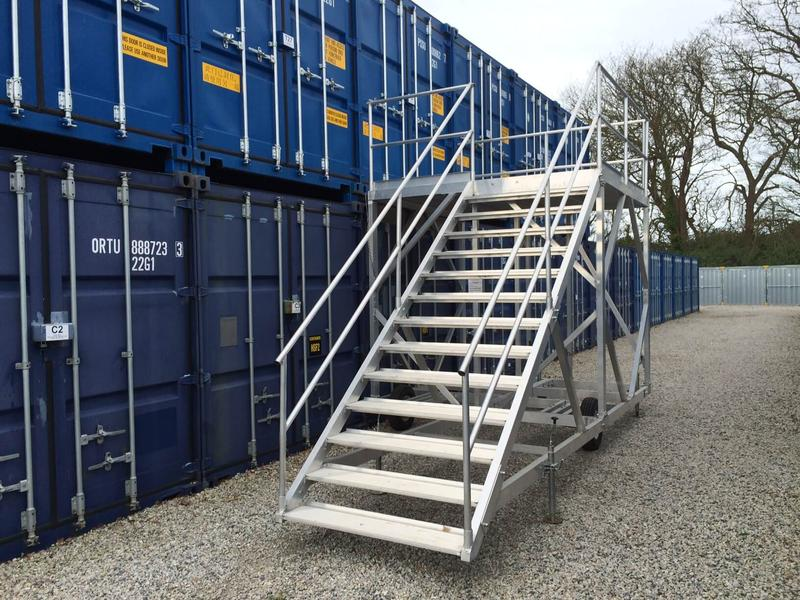Stairs to higher storage units, allowing easy access