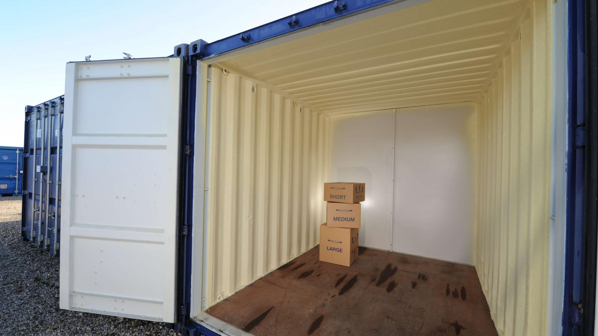 Storage container with packing boxes inside