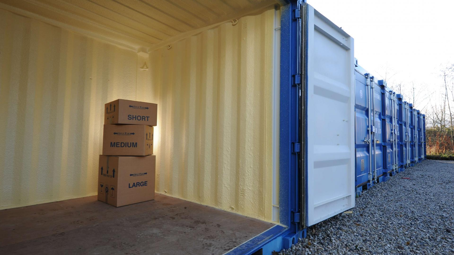 Boxes in storage container, available to rent